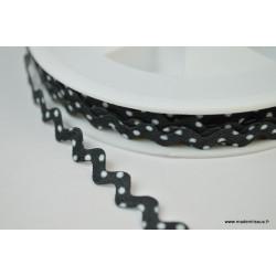 Serpentine Croquet à Pois Blanc sur fond Noir 9mm x1m