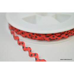 Serpentine Croquet à Pois Noir sur fond Rouge 9mm x1m