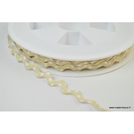 Serpentine Croquet à Pois Blanc sur fond Beige 9mm x1m