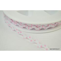 Serpentine Croquet à Pois Rose sur fond Blanc 9mm x1m
