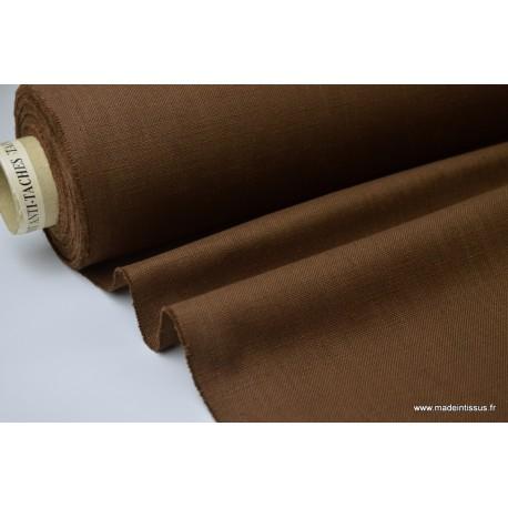 TOILE 517 aspect lin choco 65%pes 35%coton TEFLONx 1m