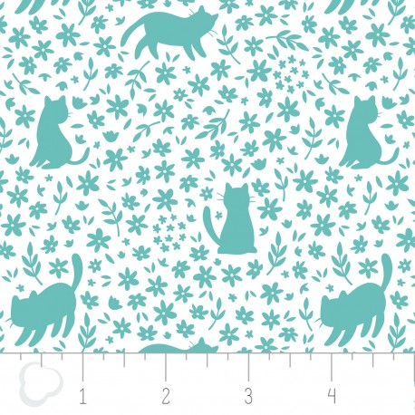 Popeline imprimée chats et fleurs menthe .x1m