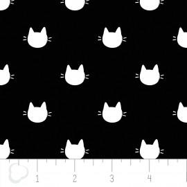 Popeline imprimée tête de chats blanc sur fond noir .x1m
