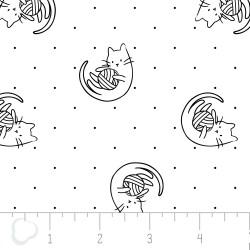 Popeline imprimée de chats qui jouent noir et blanc .x1m