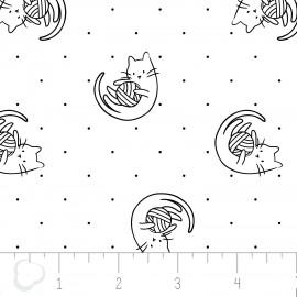 Tissu coton imprimé de chats qui jouent noir et blanc .x1m