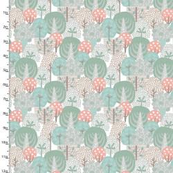 Coton imprimé arbres dans la foret by 3 Wishes .x1m