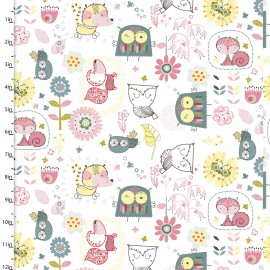 Coton imprimé Whimsy Blanc by 3 Wishes .x1m