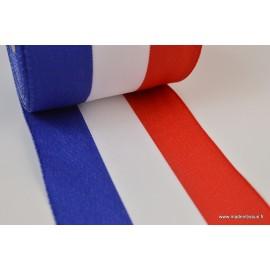Ruban polyester Bleu blanc rouge Tricolore 10cm