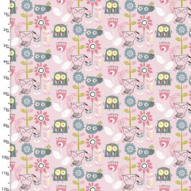Coton imprimé Whimsy hiboux et chouettes rose by 3 Wishes .collection whimsy woodland x1m