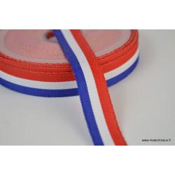 Ruban polyester Bleu blanc rouge Tricolore 15mm
