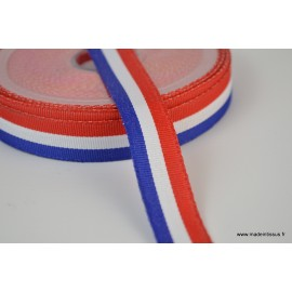 Ruban polyester Bleu blanc rouge Tricolore 15mm