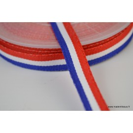 Ruban polyester Bleu blanc rouge Tricolore 10mm