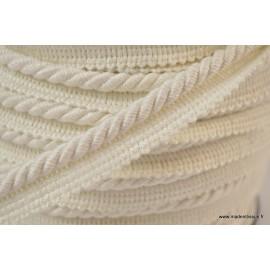 Passepoil en fibre de coton 5mm coloris Blanc