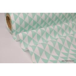 Tissu cretonne coton vintage menthe