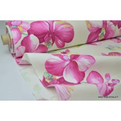 Tissu grande largeur imprimé orchidée