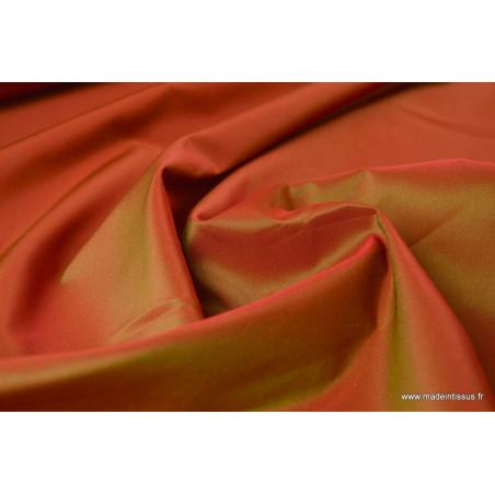 Tissu Taffetas changeant polyester rouge vert