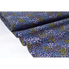 Viscose fluide imprimée Fleurs Jaune sur fond bleu .x1m